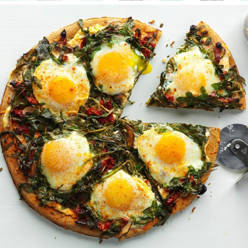 eggs on a pizza