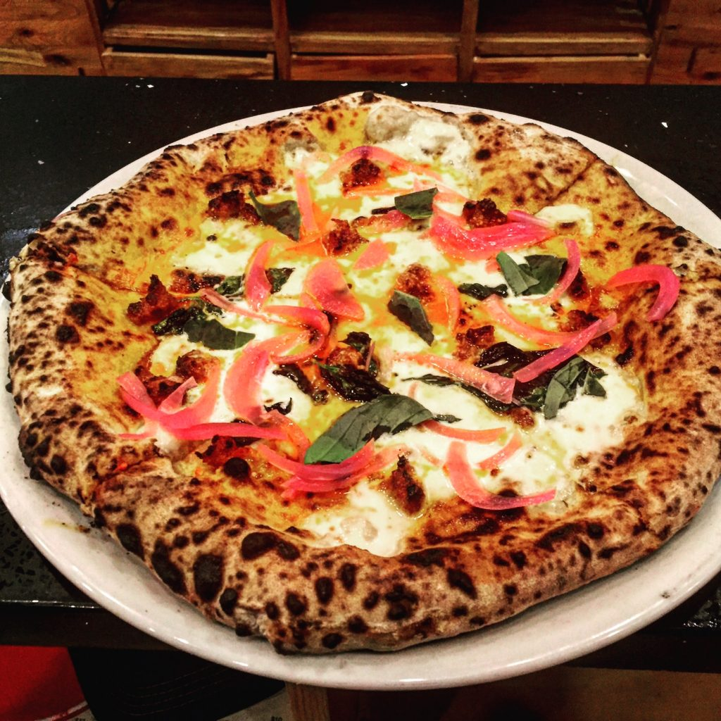 Brick oven pizza with toppings