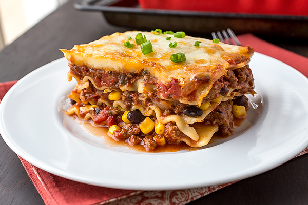 piece of Mexican lasagna on a plate