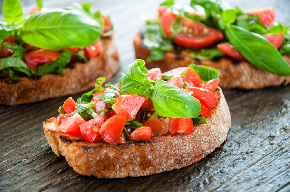 bruschetta on round toast